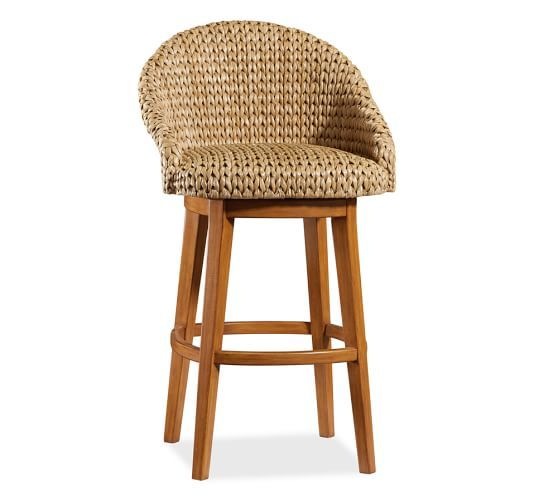 Seagrass Bucket Swivel Barstool, Bar Height, Honey