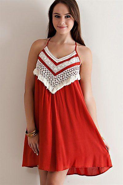70a74ffcbe Brick Crochet Halter Dress | Products | Fashion, Orange dress, Lace ...
