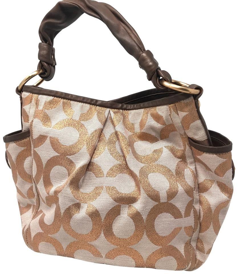 COACH | Logo Rose Gold & Brown Jacquard Shoulder Bag