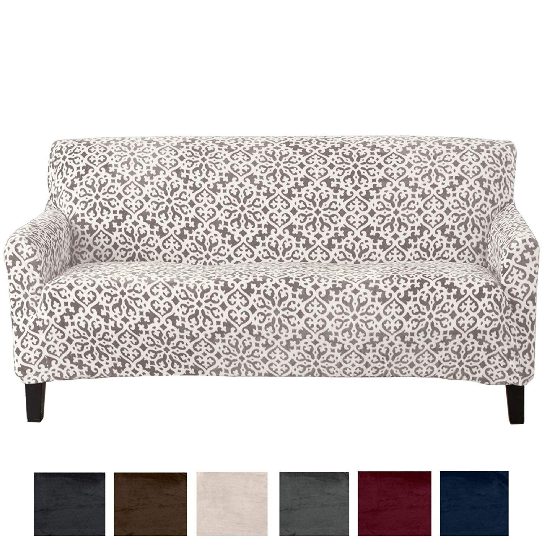 Great Bay Home Modern Velvet Plush Strapless Slipcover Form Fit