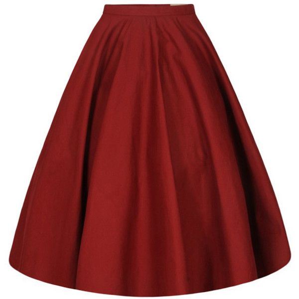 'Peggy Sue' Burgundy Full Circle Skirt (395.190 IDR) ❤ liked on Polyvore featuring skirts, cotton skater skirt, red flared skirt, skater skirt, burgundy circle skirt and cotton skirts