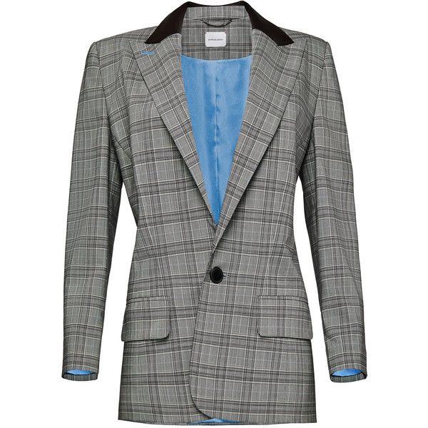 Magda Butrym     Plaid Oversized Flap Pocket Blazer (4.580 BRL) ❤ liked on Polyvore featuring outerwear, jackets, blazers, blazer, magda butrym, grey, oversized jackets, long sleeve blazer, gray blazer and long sleeve jacket