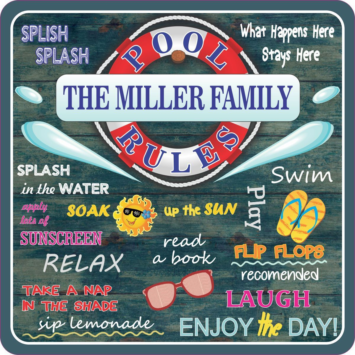 water rules personalized slate plaque lake rules pool rules and