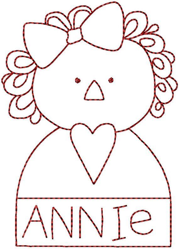 Redwork Raggedy Ann Annie Machine Embroidery Patterns / Designs 4x4 ...