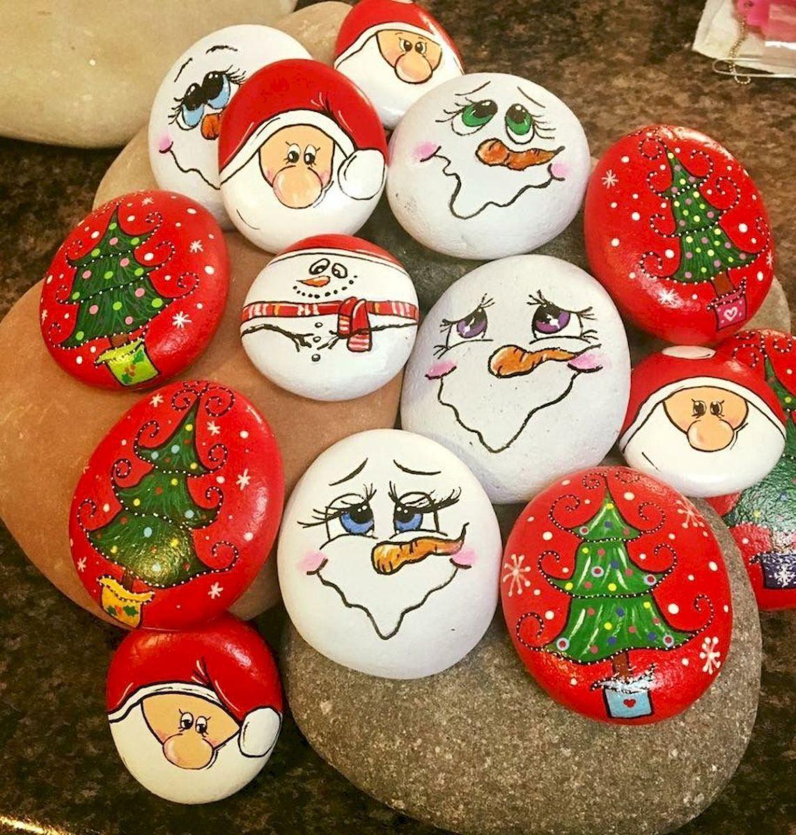 50 Creative DIY Christmas Painted Rock Design Ideas (34 is part of Easy christmas diy, Christmas rock, Rock painting designs, Christmas paintings, Painted rocks, Creative diy gifts - 50 Creative DIY Christmas Painted Rock Design Ideas (34)