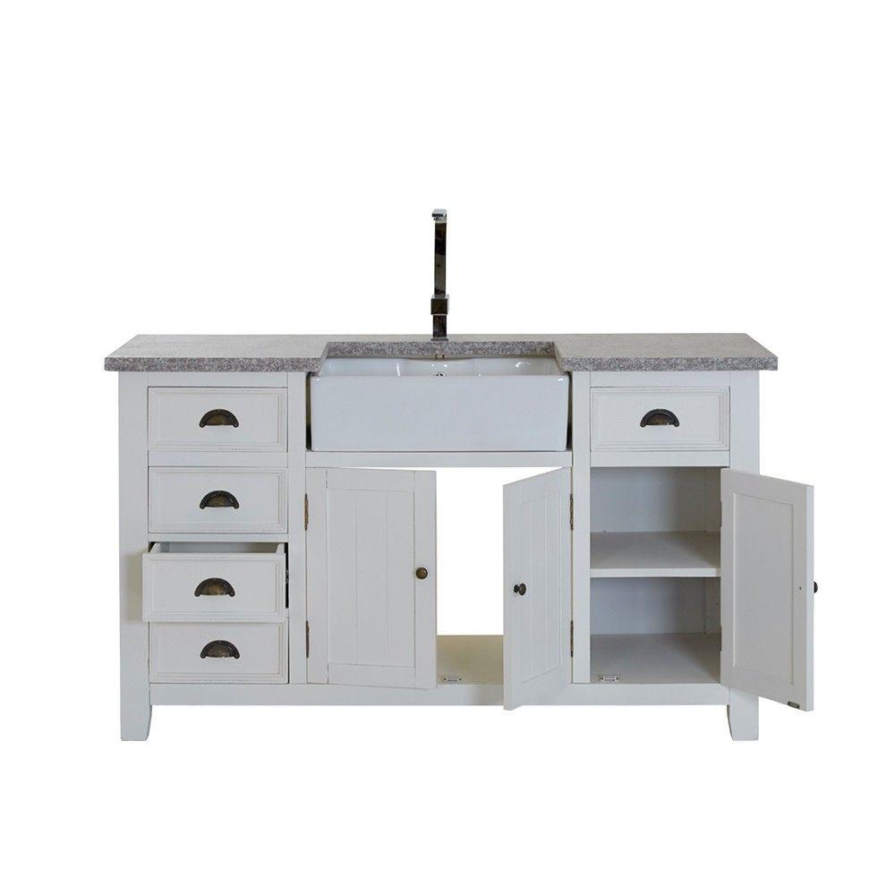 Spülschrank Granitplatte 5 Schübe 3 Türen weiß 155x90x65cm - Modell ...