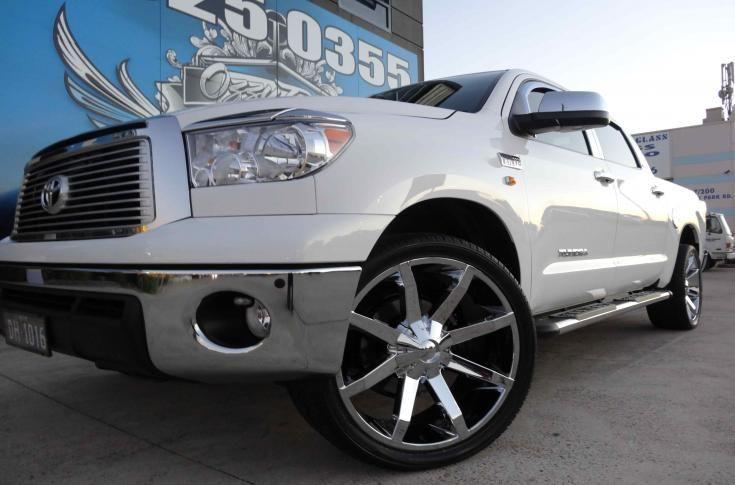 Toyota Tundra With Kmc Slide Chrome Mag Wheels Ozzy Tyres Car Wheels Car Wheel Ideas Car Wheel Design