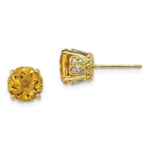 10K Yellow Gold Tiara Collection Diamond & Citrine Post Earrings