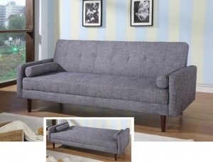 Modern Grey Sofa With A High Back And Short Arms