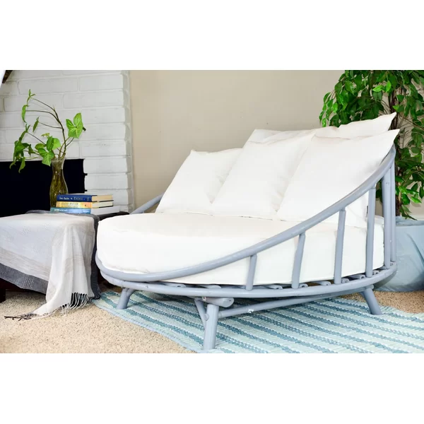Bamboo Large Round Patio Daybed With Cushions About Our Product Statra Bamboo We Strive To Protect Our Environment By U In 2020 Patio Daybed Patio Sofa Outdoor Daybed