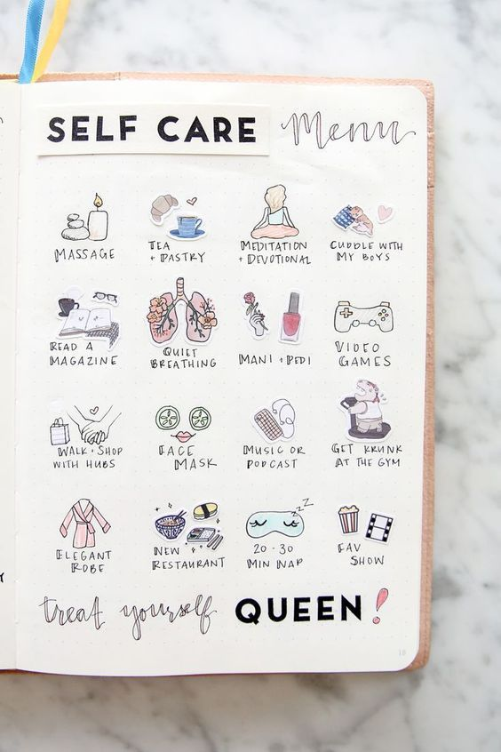 17 Stunningly Simple Self Care Bullet Journal Layouts #mentalhealthjournal