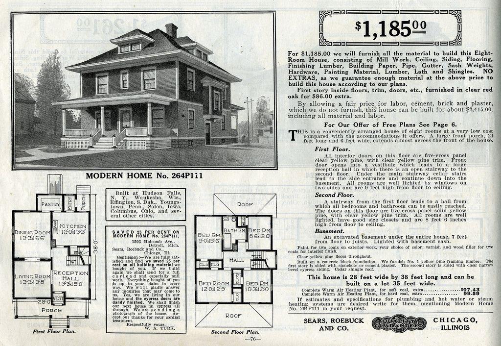 Sears Foursquare The Chelsea Or 264p111 Four Square Homes Farmhouse Floor Plans House Plans