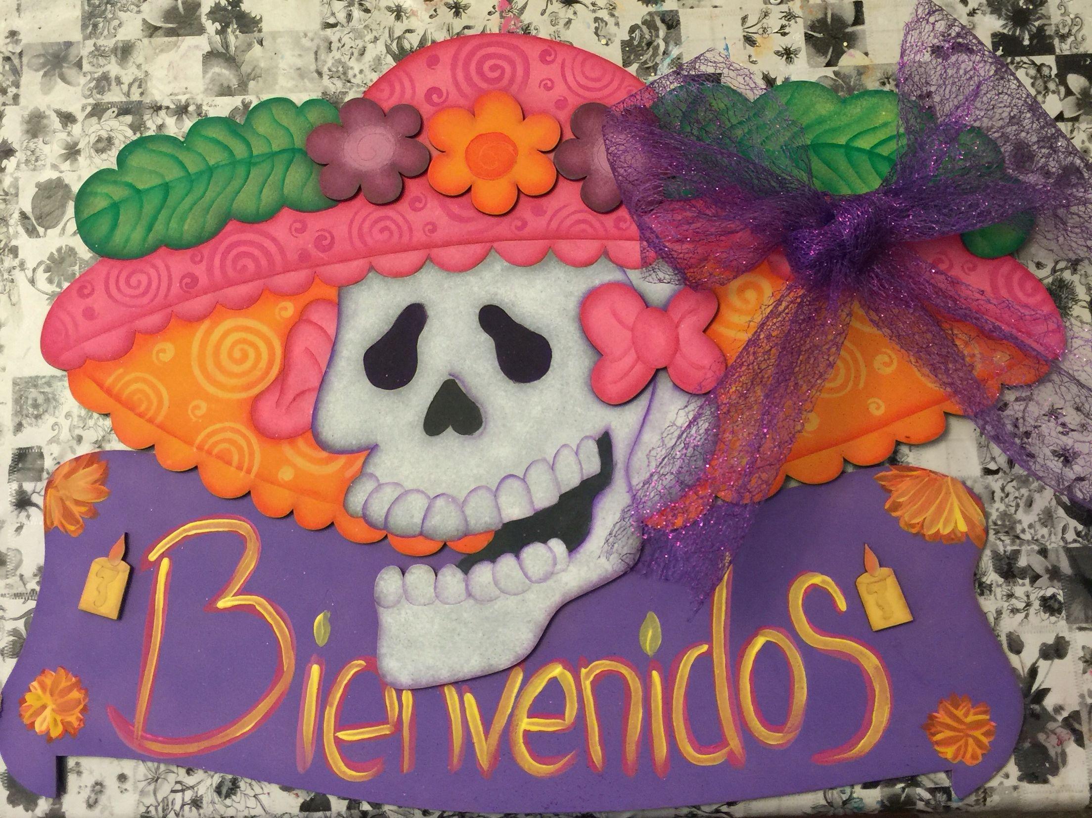 Catrina adorno para puerta d a de muertos halloween for Decoracion de puertas de dia de muertos