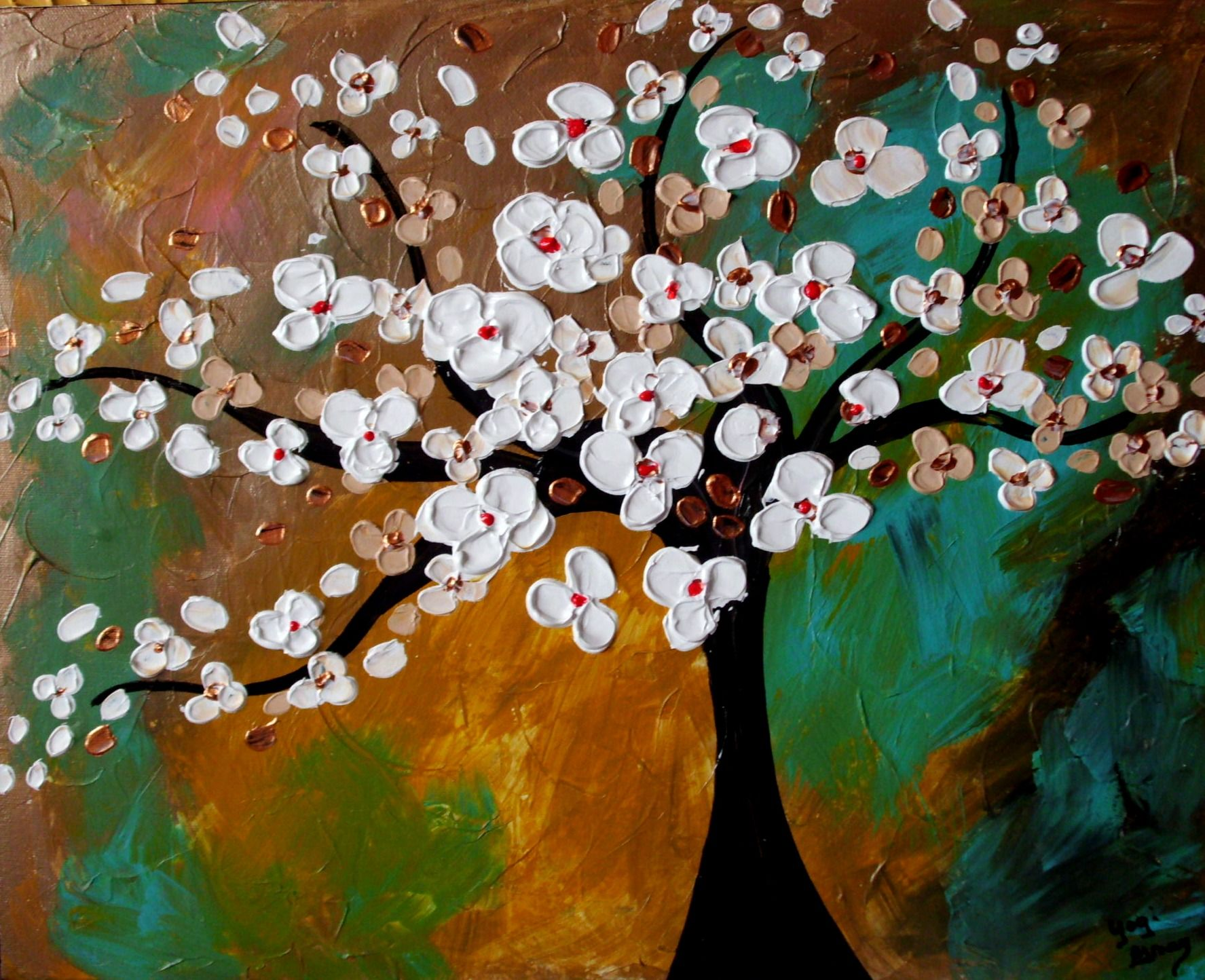 Albero Con Fiori Bianchi pin by charm accents on newest paintings | tree art, tree