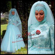 2015 Light Blue Long Sleeve Arabian Prom Dress Abendkleider Vestidos De Formatura Long Prom Dress(China (Mainland))