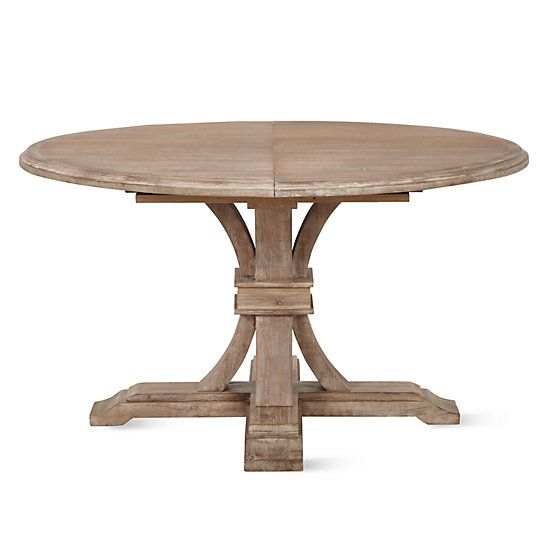 Archer Wash Oak Extending Pedestal Dining Table Round