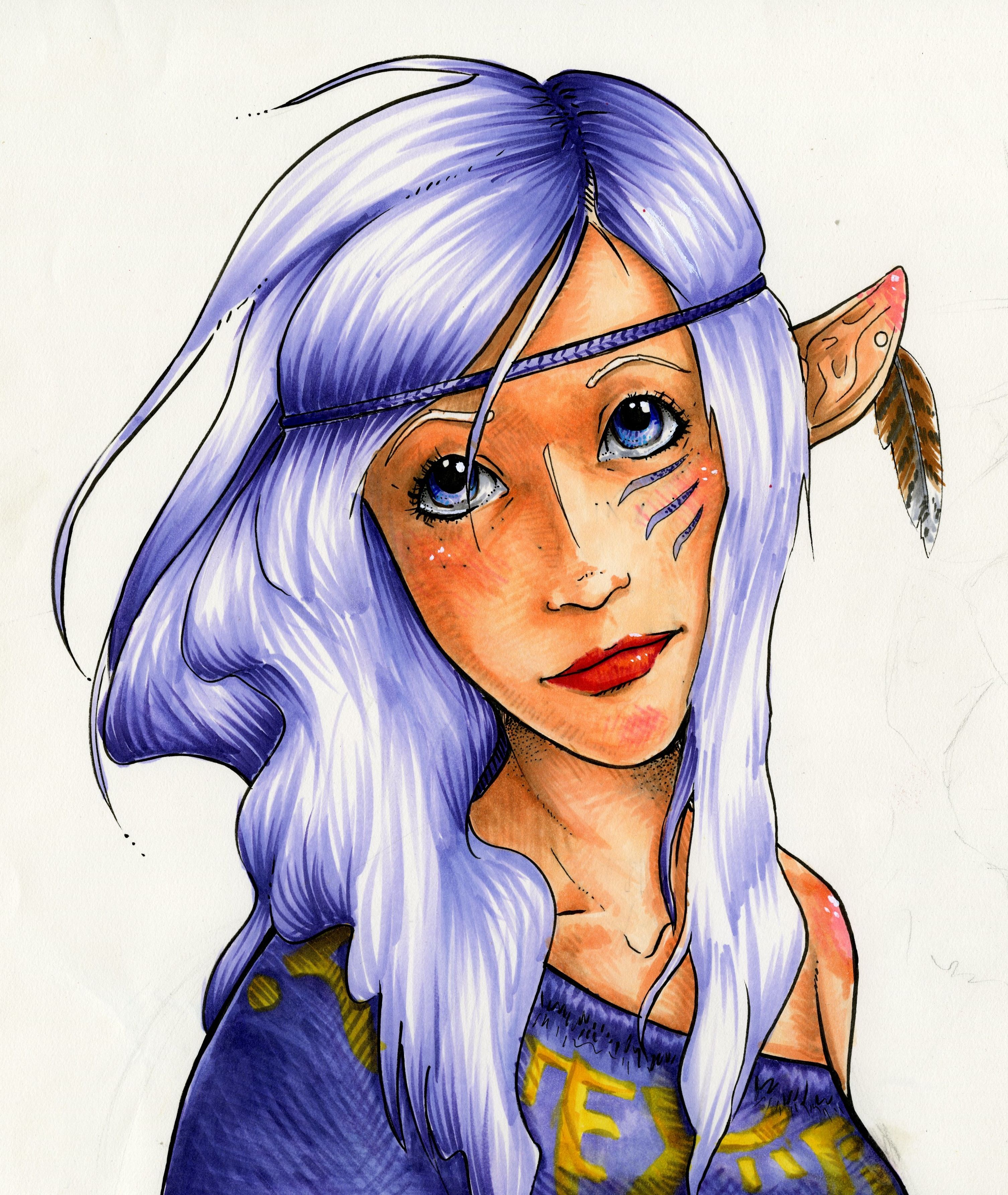 Copic Markers. Shading Neck And Hair. Markers Colors
