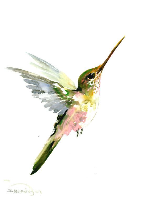Hummingbird painting, 14 x10 in,zen painting bird ...