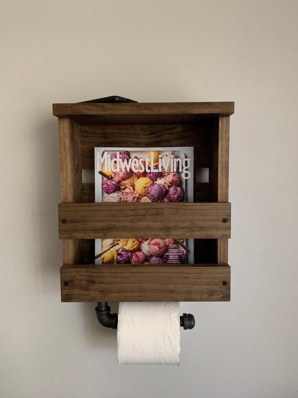 Toilet Paper Holder Shelf Magazine Rack Industrial Toilet Etsy Toilet Paper Holder Shelf Toilet Paper Holder Industrial Rustic Toilet Paper Holders