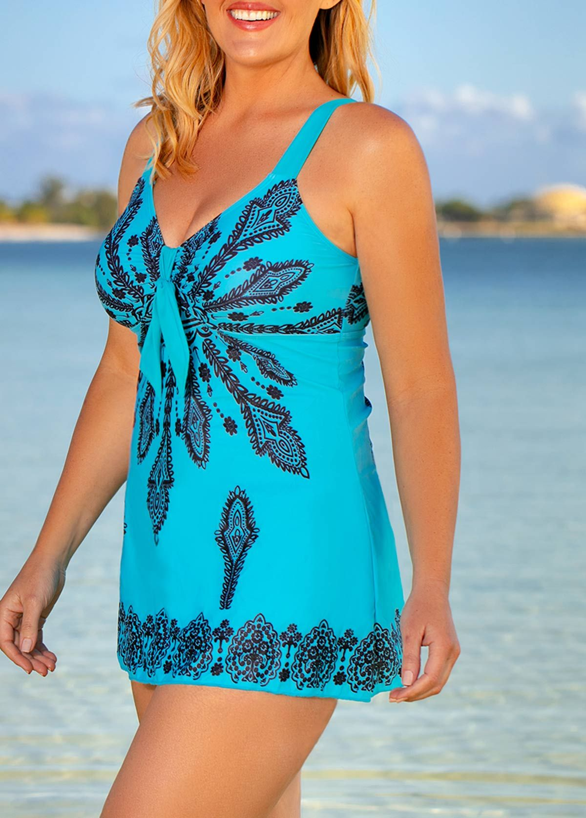 7100a80a8d Plus Size V Neck Printed Swimdress and Shorts | Rosewe.com - USD $29.62