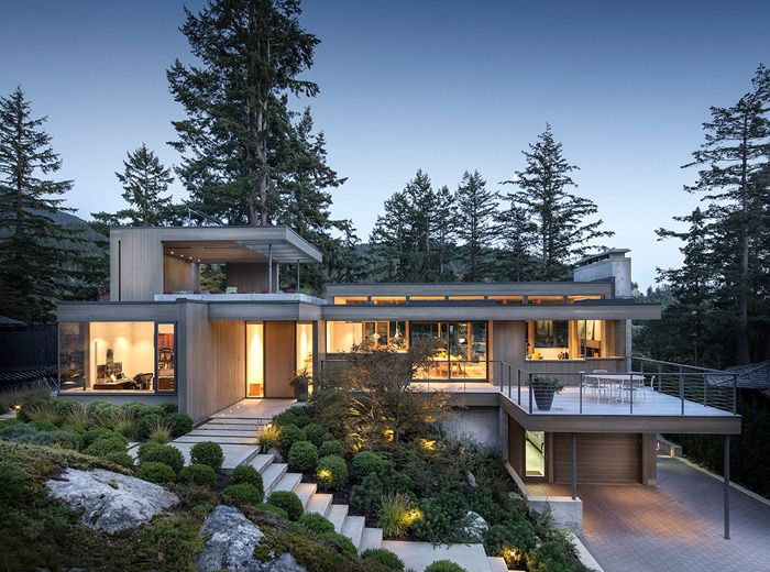 Horseshoe Bay West Vancouver Modern Architecture Contemporary House Full View Architecture Modern Style House Plans Modern Beach House