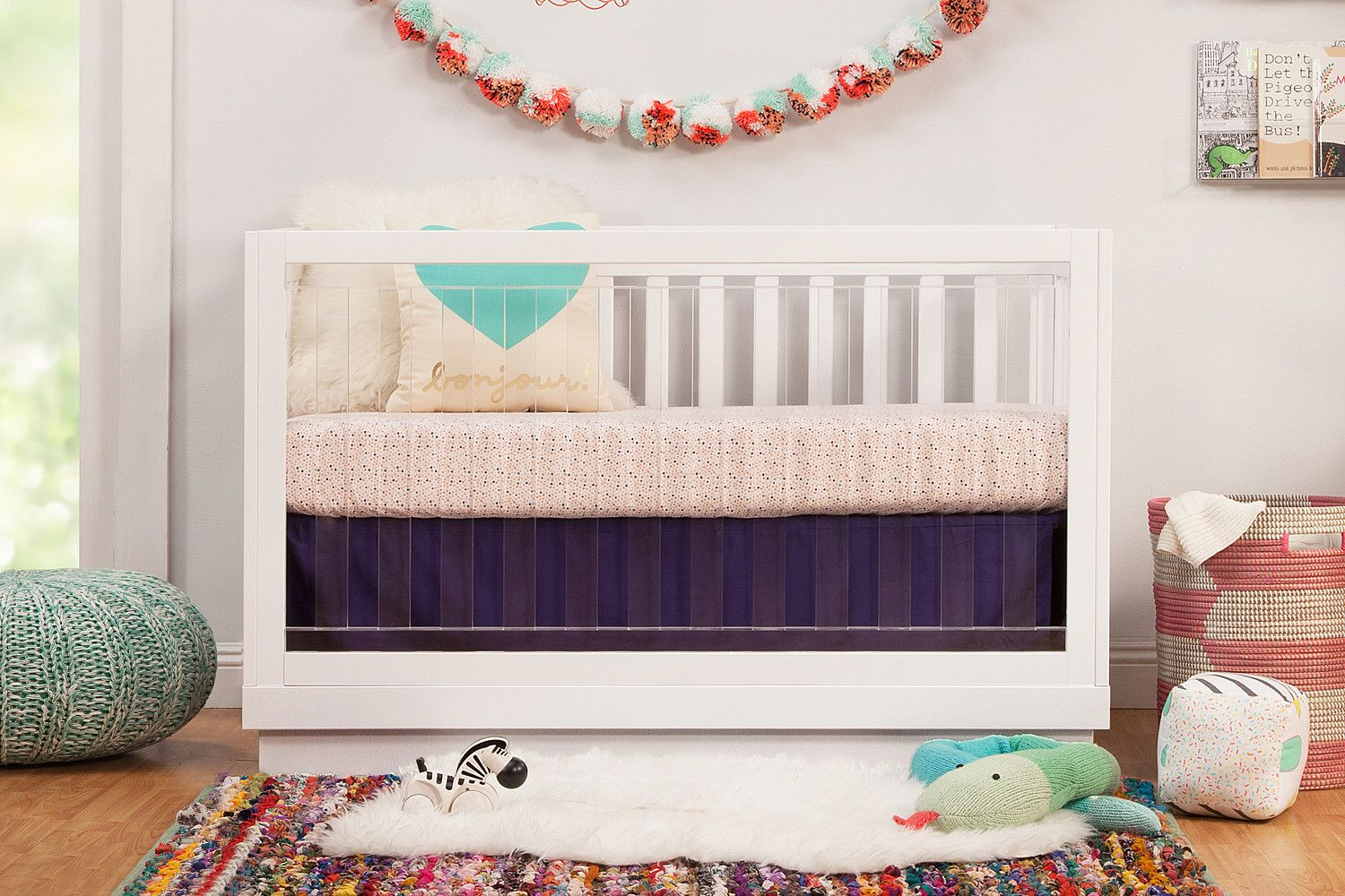 Harlow Acrylic 3 In 1 Convertible Crib With Toddler Bed Conversion Kit Convertible Crib Toddler Bed Cribs