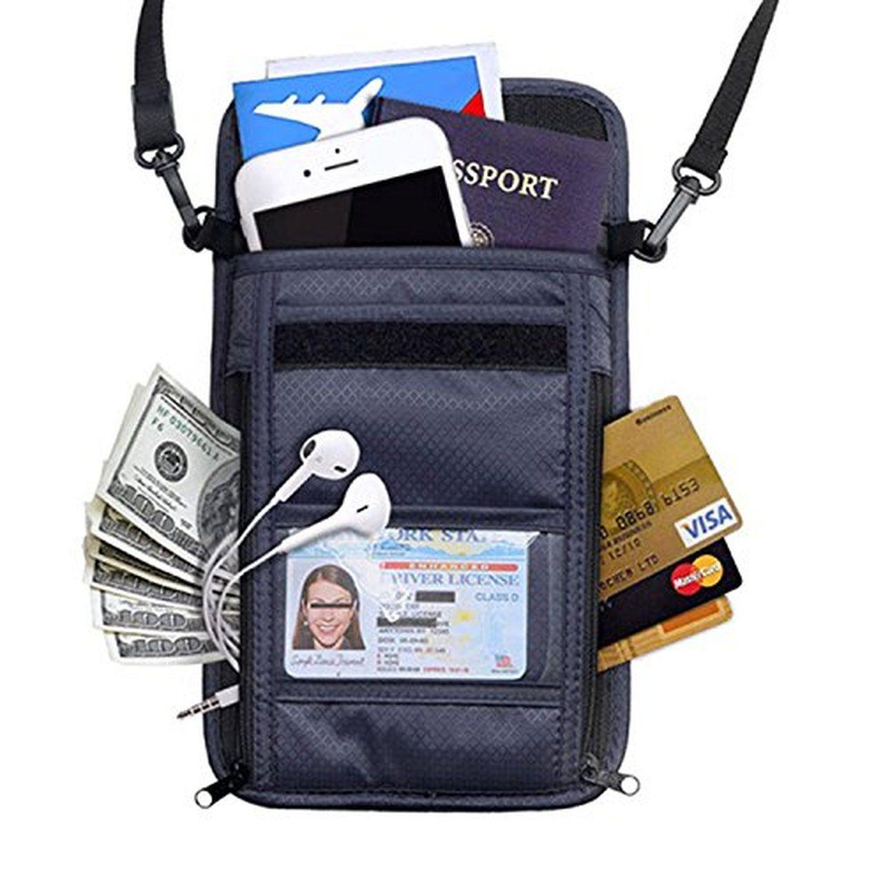 RFID Blocking Passport Holder Wallet with Neck Stash Pouch