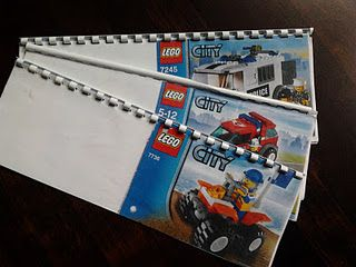 The instructions aren't in English, but it looks simple enough. I will definitely be binding my Lego instructions. Great idea!