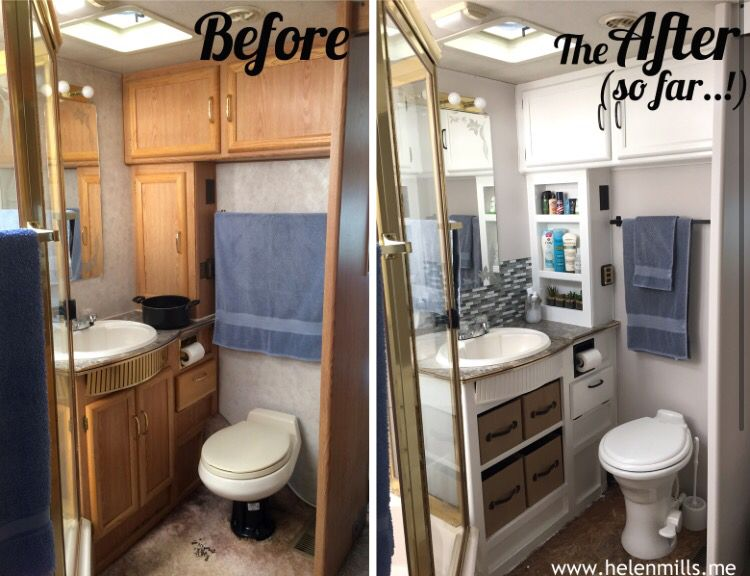 Rv bathroom redo campers pinterest rv bathroom rv and camper remodeling Rv with 2 bedrooms 2 bathrooms