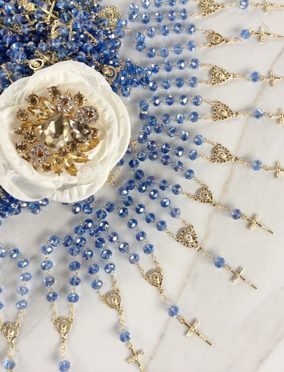 Mini Rosary Baptism Favors 25 pcs all Crystal beads and Silver cross  Elegant mini-rosary baptism favors. With attention to details and