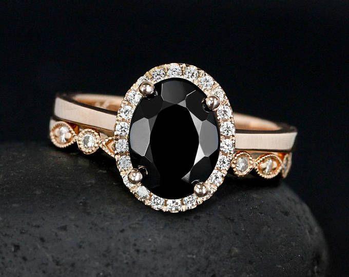 870cb4f67df Oval Black Tourmaline Engagement Ring – Diamond Halo – Half Eternity  Milgrain Leaf Band