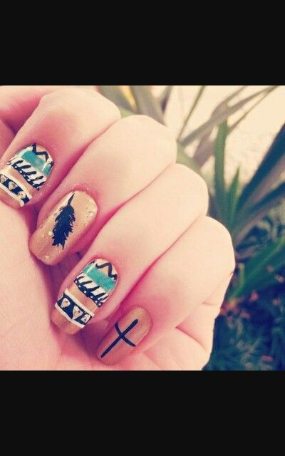 Tribal Dream Catcher Cross Feather Nail Design Nails
