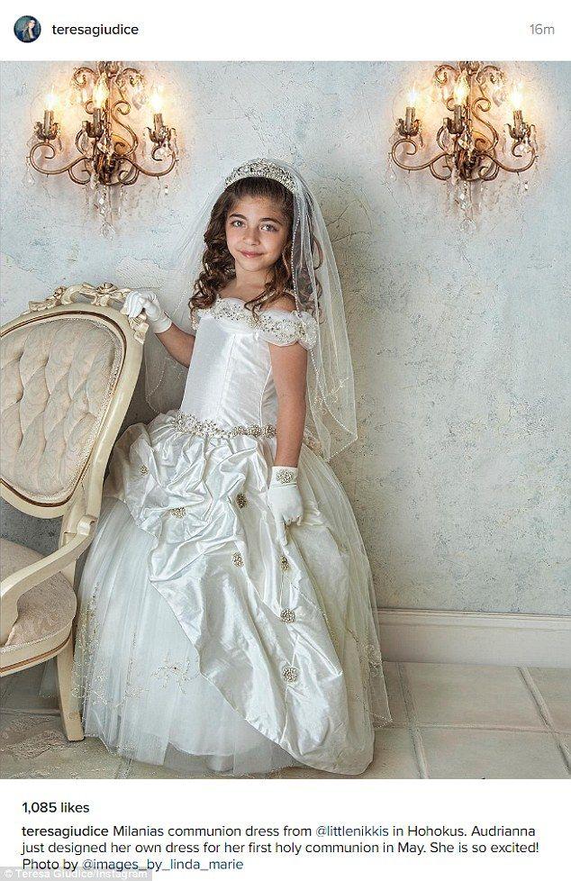 Teresa Giudice S Daughter Milania Wears Tiara Communion Dresses