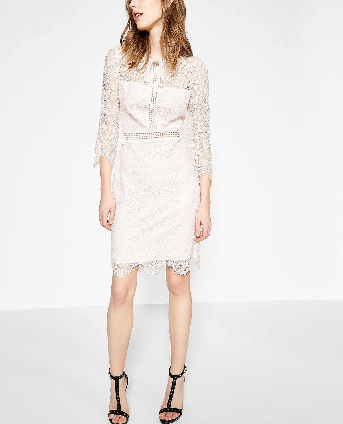 Robe Rose Poudre Dentelle Brodee Collection The Kooples 4 Home 5