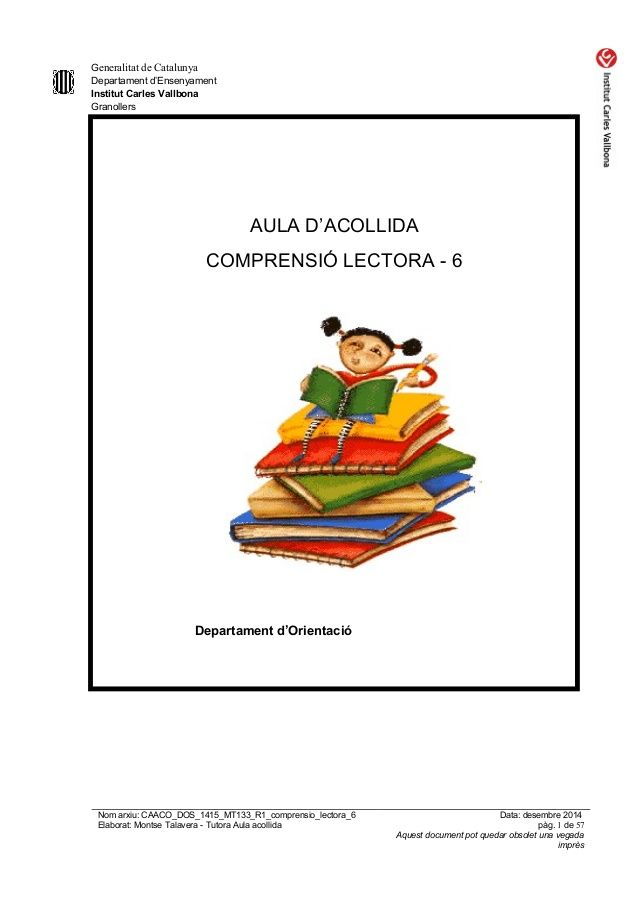 Caaco Dos 1415 Mt133 R1 Comprensio Lectora 6 Lectures Comprensives Teaching Education