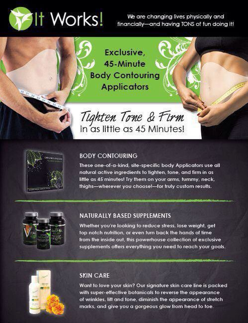 Tighten and Tone in 45 min Get your Healthy glow from inside and out with our Greens and vitamins and Amazing results with our skin care line http://nikkitafaith.myitworks.com