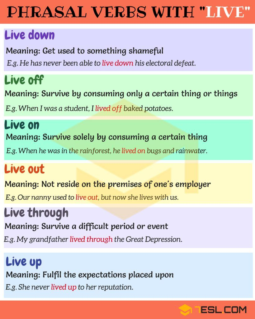 Phrasal Verbs With Live Live Out Live On Live Off 7 E S L Learn English Words English Vocabulary Words Learn English Vocabulary [ 1024 x 819 Pixel ]