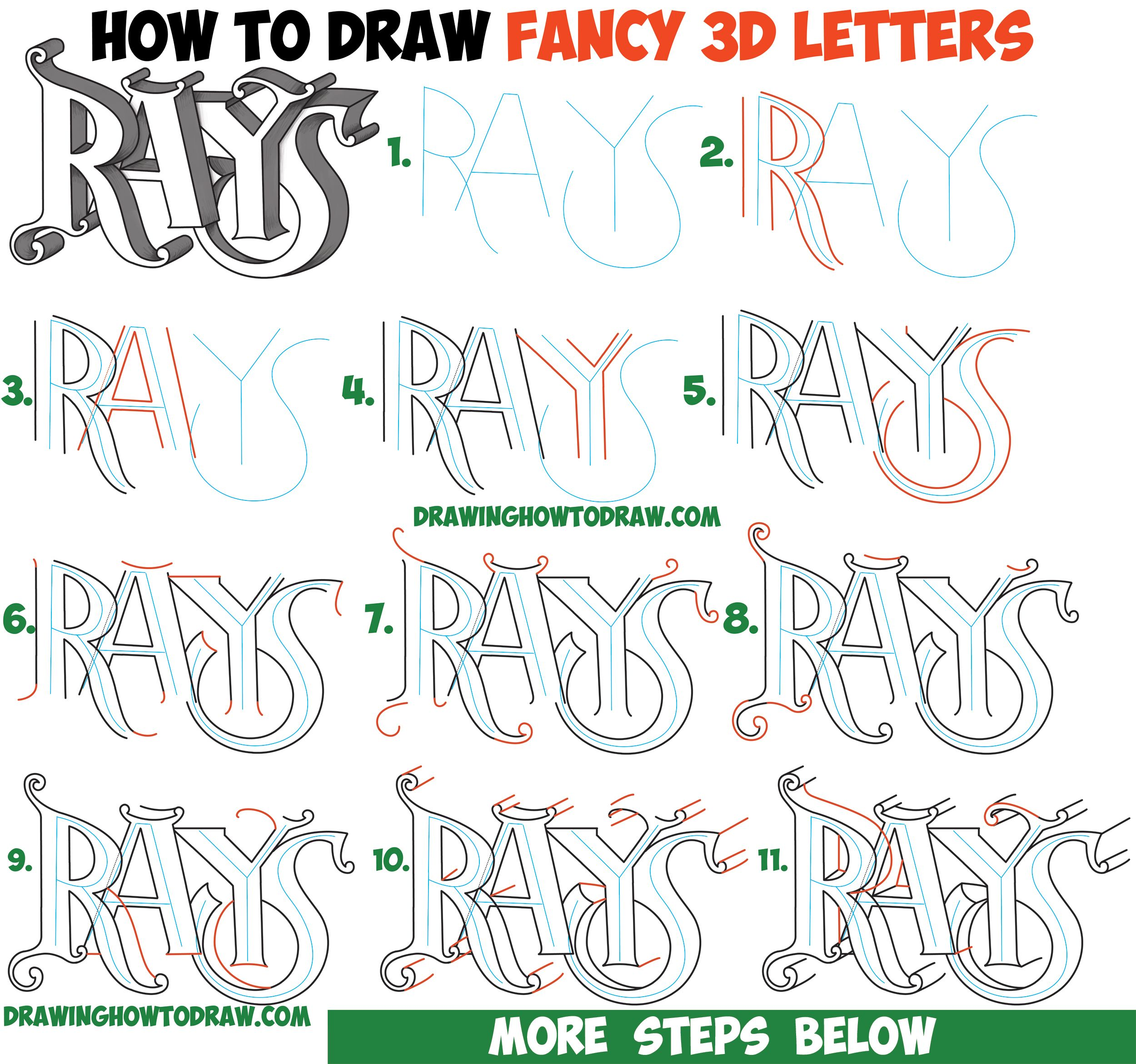 How To Draw 3d Fancy Curvy Letters Easy Step By Step