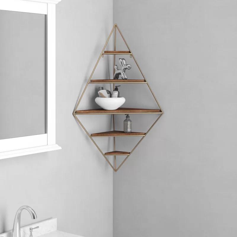 Leroy Decorative Mid Century Modern 5 Piece Diamond Corner Shelf Corner Wall Shelves Wall Shelves Corner Wall