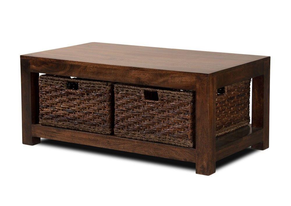 Dakota Mango Large Coffee Table With Baskets Dark In 2019