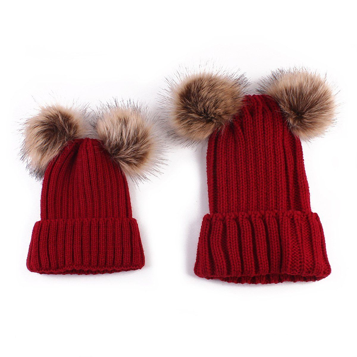 1d3be13d7 2 PCS Set Family Matching Hat Autumn Baby Girls Boys Winter Warm ...