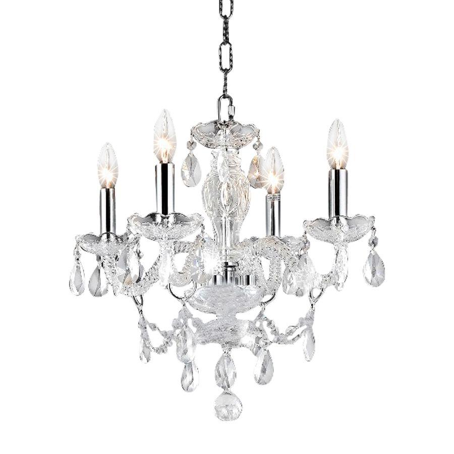 Elegant Lighting Princeton 17 In 4 Light Chrome Crystal Candle Chandelier 7834d17c Rc
