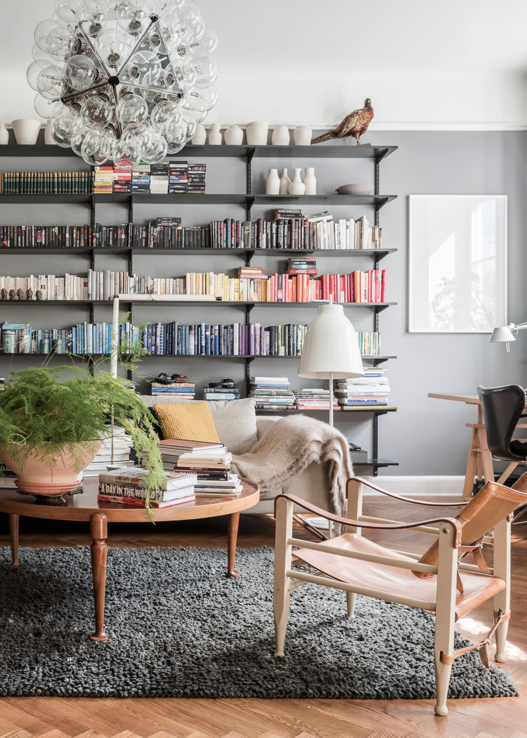 Cozy Living Room Library With Grey Walls Leather Chairs Large Bookshelf