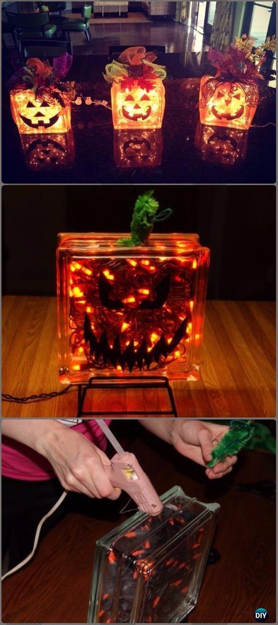 diy halloween lighting. DIY Glass Block Pumpkins Lights Tutorial - Halloween Light Projects Instructions Diy Lighting Y