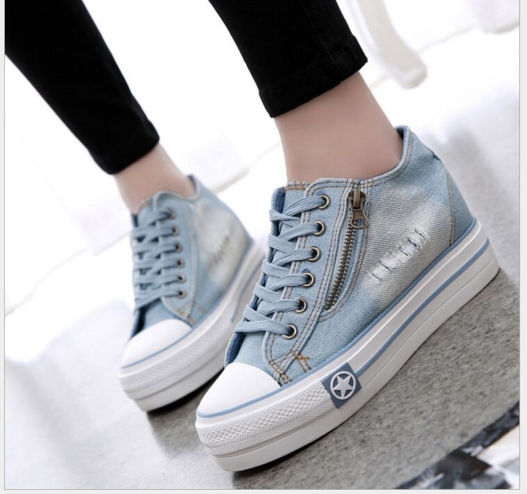 Price tracker and history of new fashion style womens canvas shoes  breathable casual shoes women s lace up Platform jean causal shoes for women  9178 3a9e677215e0