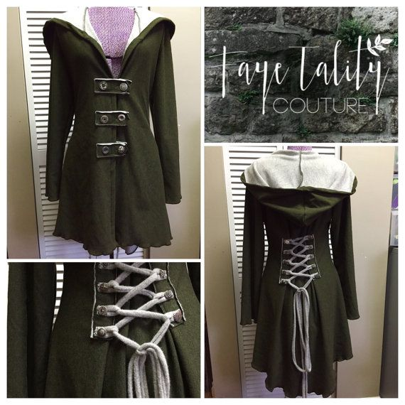 Forest Green corset laced  festival hoodie Fairy  pixie steampunk cloak jacket hoody modern red riding hood