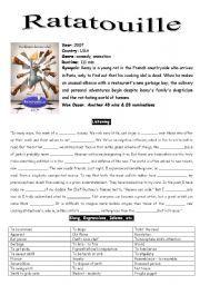 English Worksheet Ratatouille