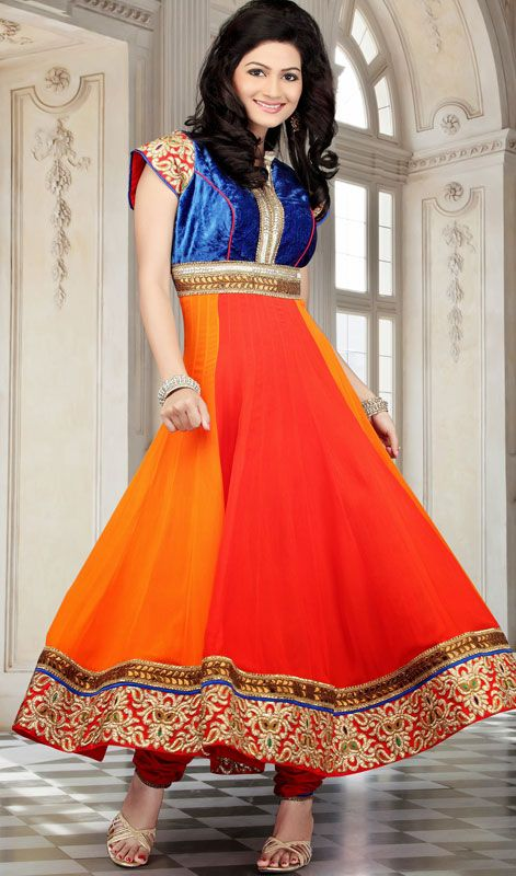 4c490cf7a67 Rajasthani Styled Georgette Plus Size Chudidar Kurta Be your own style icon  with Rajasthani color combination inspired orange