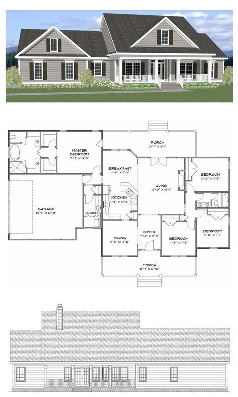 Plan SC-2081: 4 bedroom 2 bath home with a study. The home has 2081 ...
