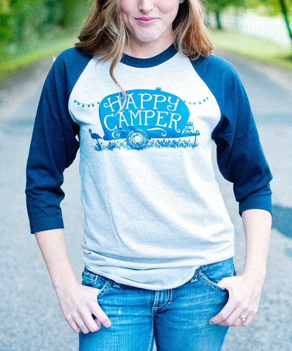 Look at this Ruby's Rubbish Heather Gray & Navy 'Happy Camper' Raglan Tee on #zulily today! @tammyllane reminded me of you